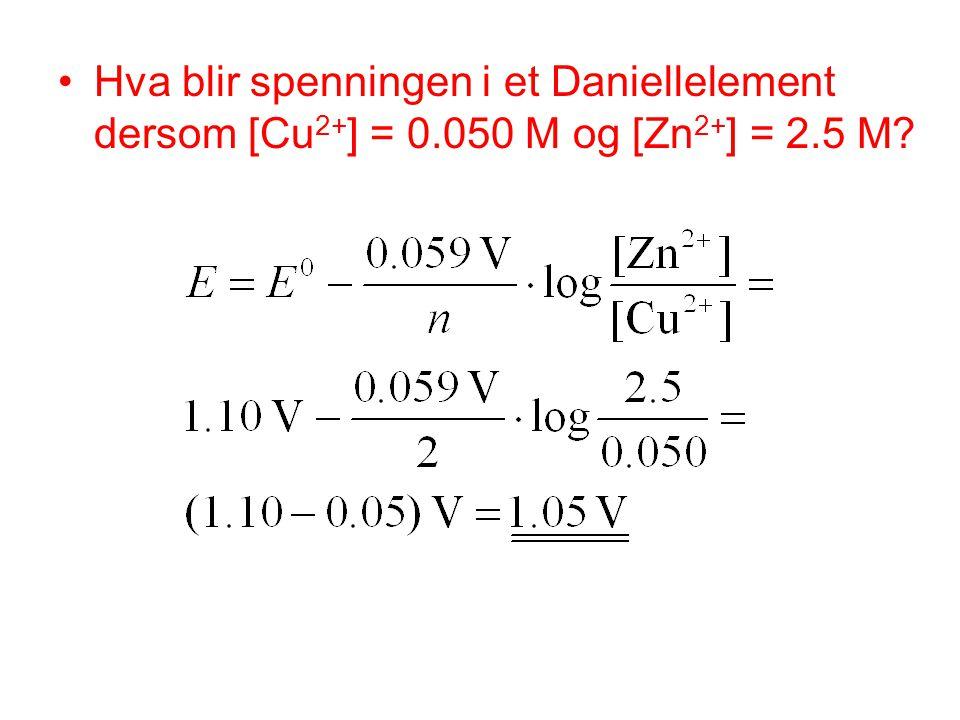 Hva blir spenningen i et Daniellelement dersom [Cu2+] = 0